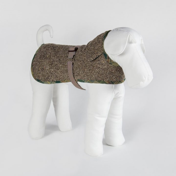 tailored reversible dog clothing in tweed and sand cashmere