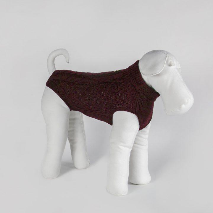 abbigliamento maglia per cani su misura in lana rosso vino