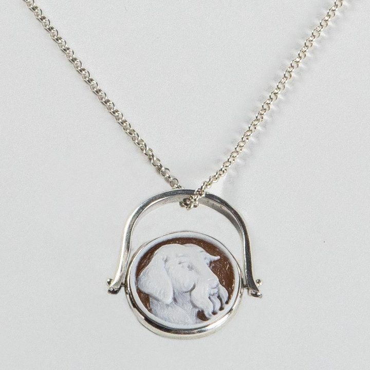 sterling silver reversible necklace/ring with personalized cameo