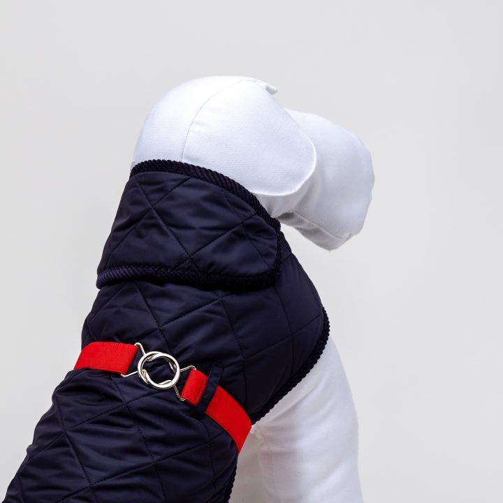 BLUE-RED-QUILT RAIN cappottino impermeabile per cani sportivo, trapunta blu