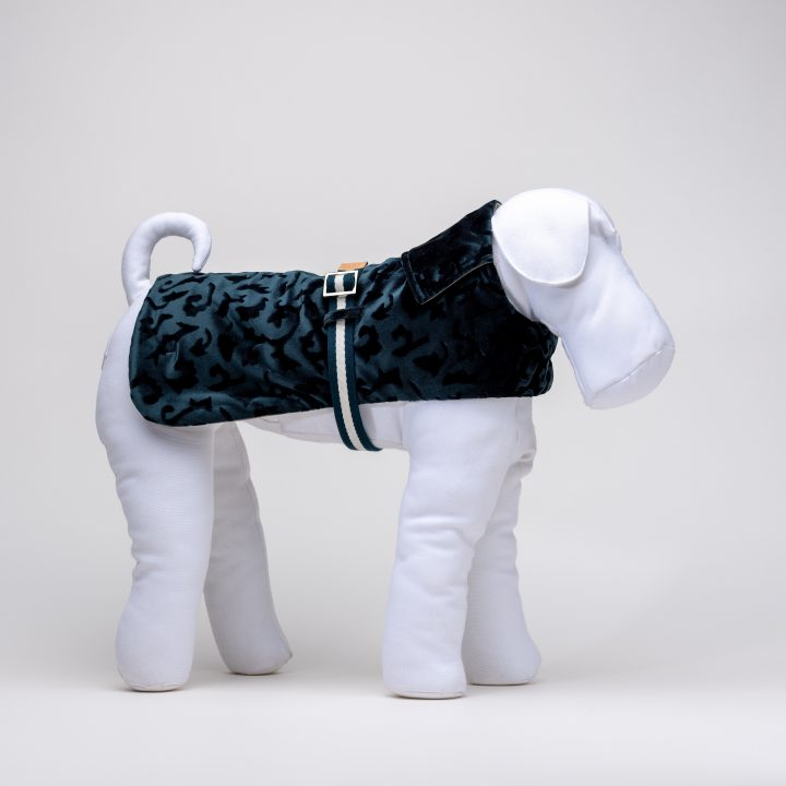 tailored waterproof double-sided dog cloth in teal color velvet