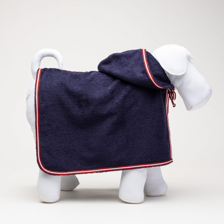 presidential blue colored terry dog bathrobe