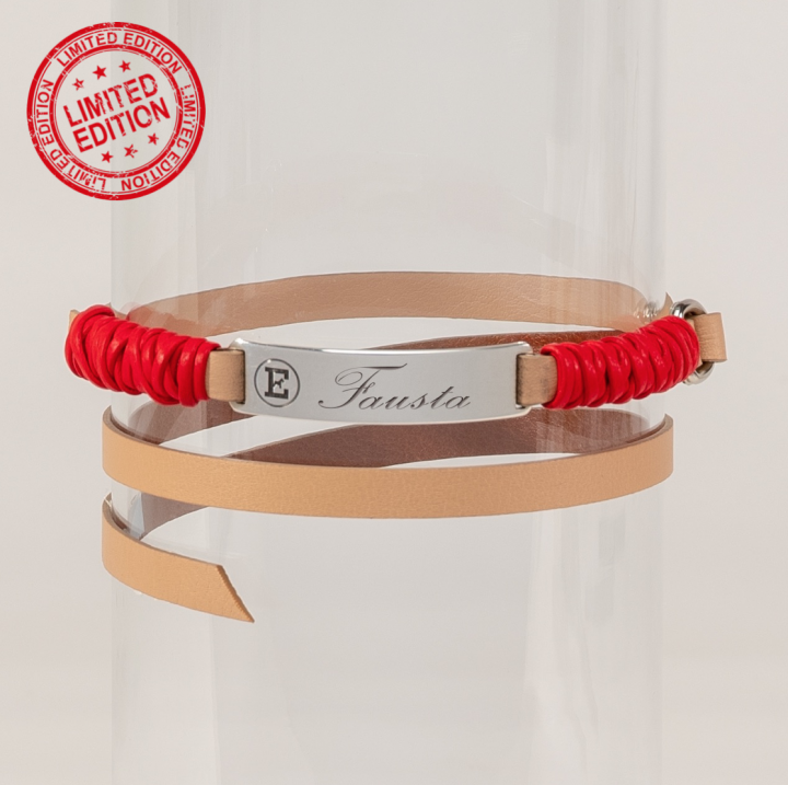 pet tag in silver and genuine leather with red details