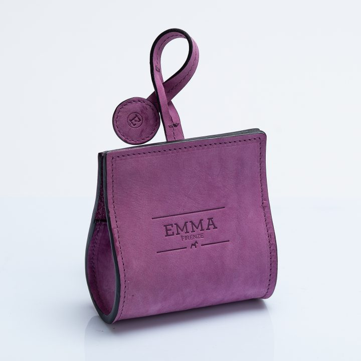 dog waste bag dispenser in fuchsia nubuck leather