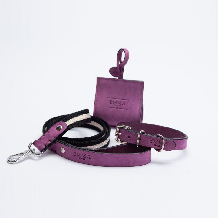 Collezione Nubuck Fuchsia con guinzaglio fashion, collare di lusso, porta sacchetti per cani