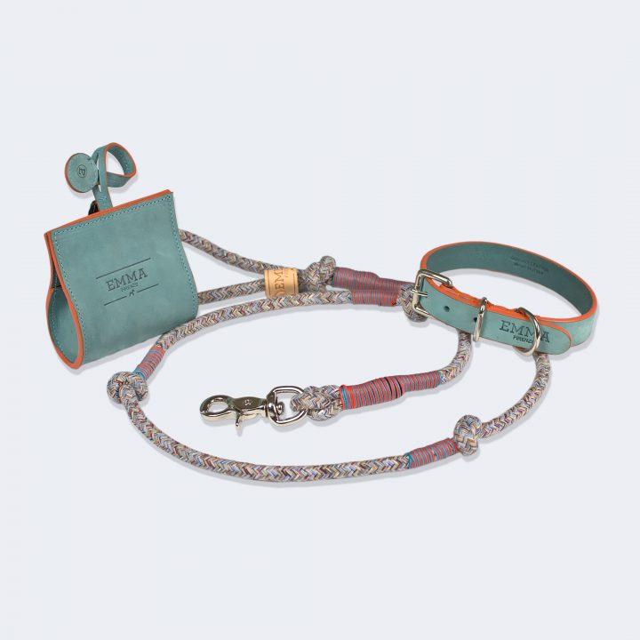 collezione guinzaglio, collare e porta sacchetti per cani fashion chic