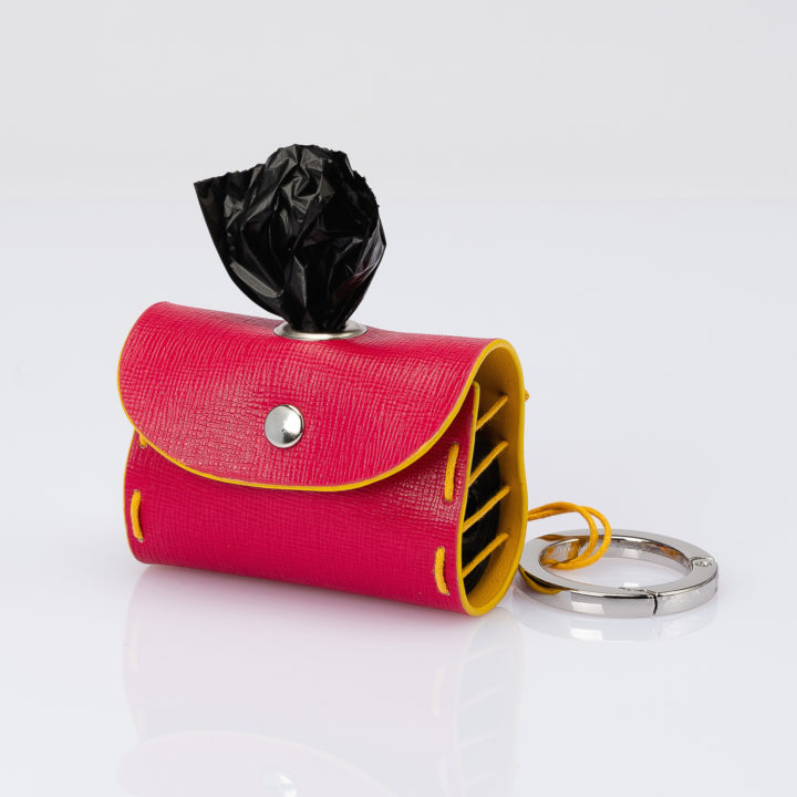 dog waste bag dispenser in two-tone leather