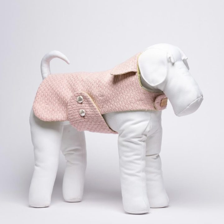 made-to-measure pink double-sided waterproof coat for dogs