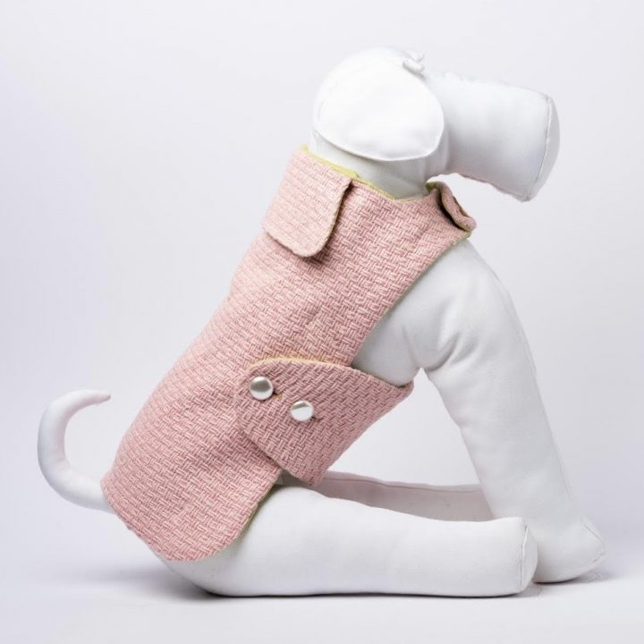 cappotto-impermeabile per cani double-face su misura rosa