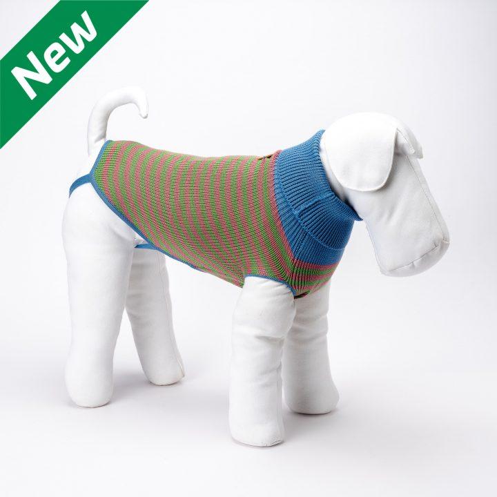 abbigliamento maglia per cani su misura in lana a righe rosa e verdi