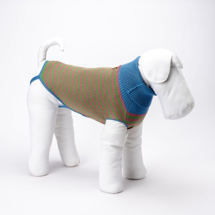 bespoke knitted clothing for dogs in pink and green striped wool
