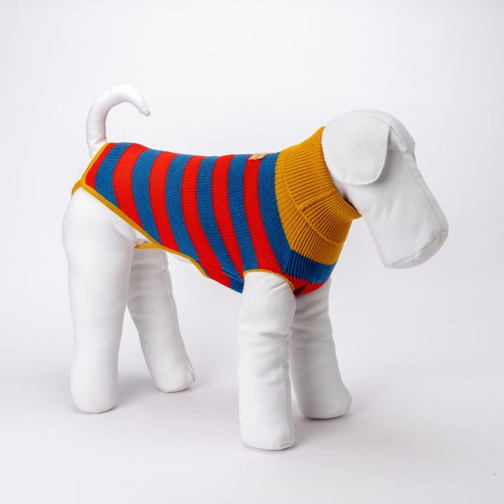 bespoke knitted clothing for dogs in red and blue striped wool