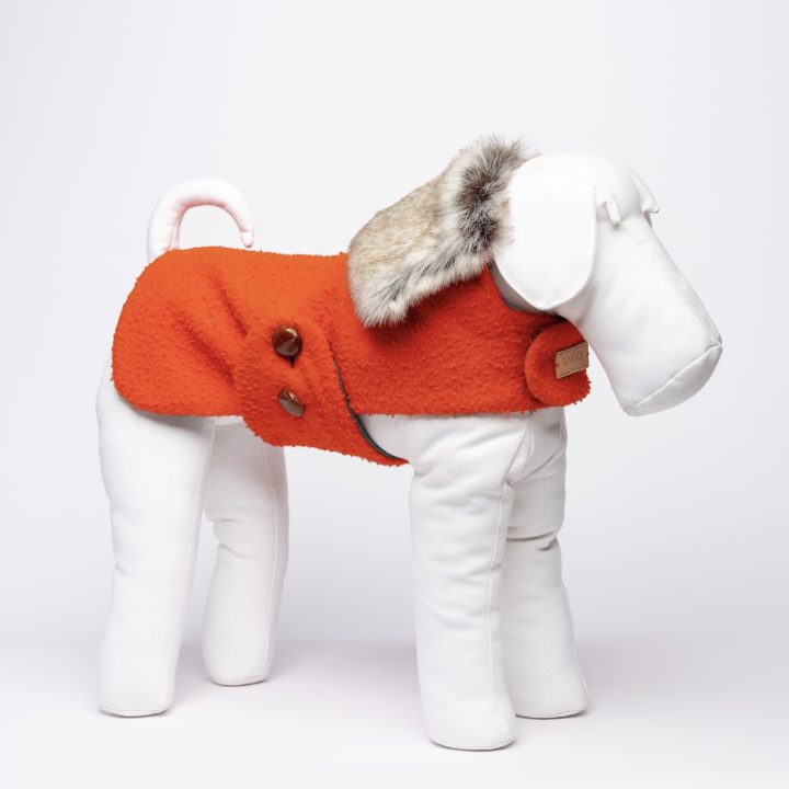 made-to-measure waterproof dog clothing in orange casentino fabric