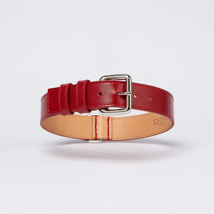 collar in red saffiano leather
