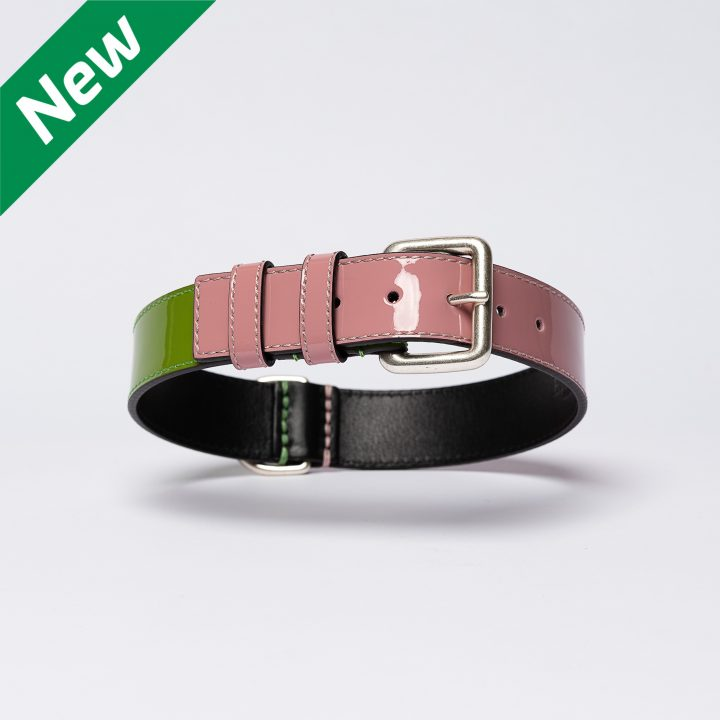 collar in pink and green leather
