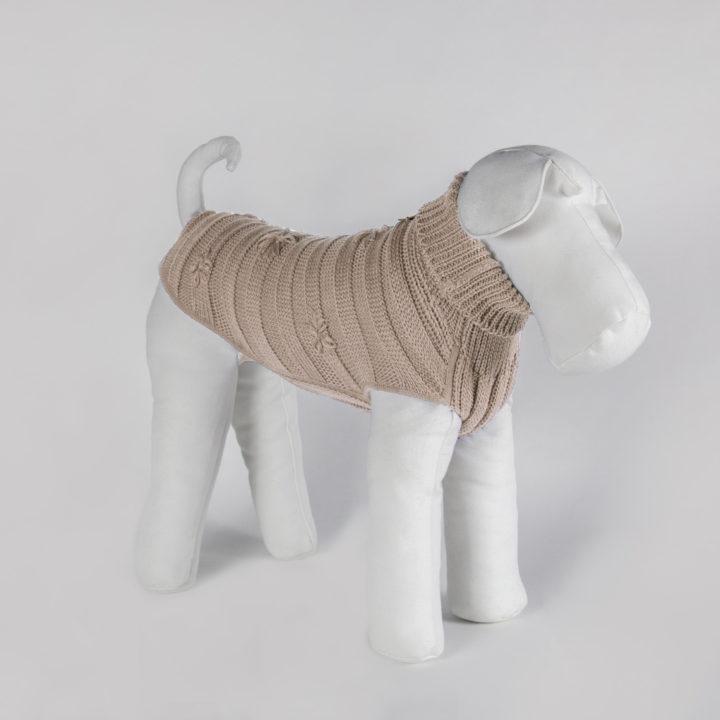 abbigliamento maglia per cani in lana color burro