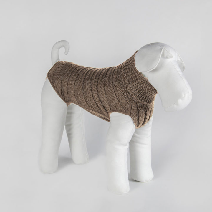 bespoke sweater for dogs in camel-color wool