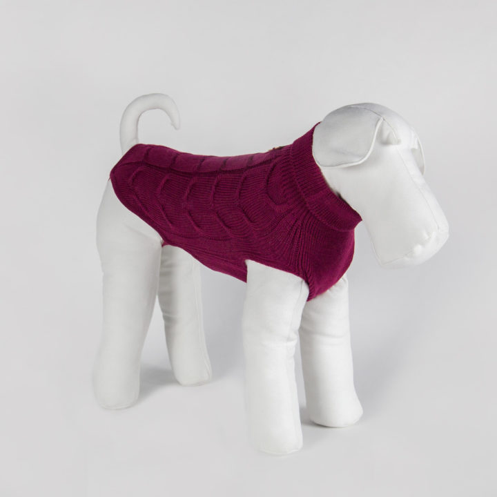 made-to-measure dog sweater in fuchsia color pure wool