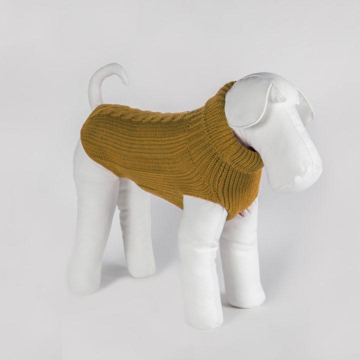 bespoke dog sweater in warm mustard yellow merino wool