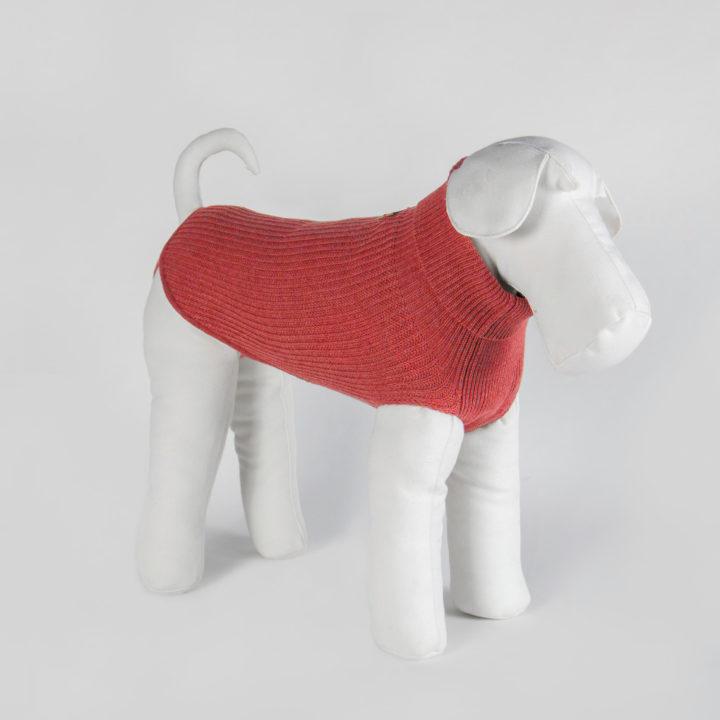 maglia per cani su misura in puro cashmere rosso corallo